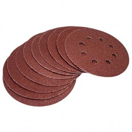 10pc Circular Sanding Sheet Set (P60 Grit, Dia 125mm)