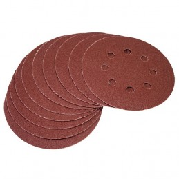 10pc Circular Sanding Sheet Set (P80 Grit, Dia 125mm)