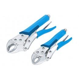 "BlueSpot 2 PCE 180mm & 250mm (7"" & 10"") Soft Grip Non-Slip Curved Locking Pliers"