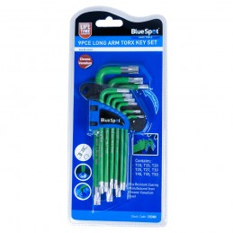 BlueSpot 9 PCE Long Arm Tamper Proof Torx Key Set (T10-T50)