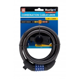 BlueSpot 1.5m x 15mm Combination Cable Lock