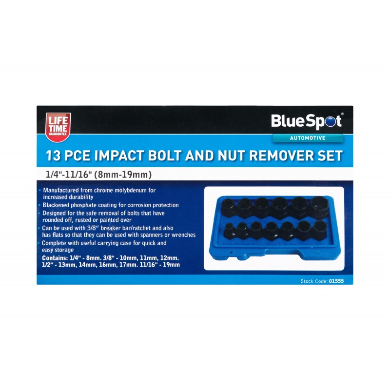 """BlueSpot 13 PCE Impact Bolt And Nut Remover Set (1/4""""-11/16"""") (8mm-19mm)"""