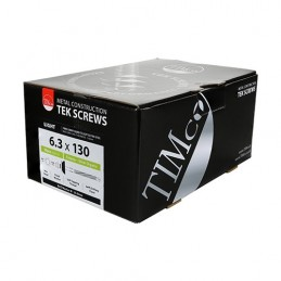 Timco Fibre Cement Board Screws - Hex - For Light Section Steel - Exterior - Silver - with BAZ Washer - 6.3 x 130 - Box of 50