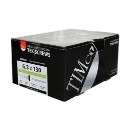 Timco Fibre Cement Board Screws - Hex - For Timber - Exterior - Silver - with BAZ Washer - 6.3 x 130 - Box of 50